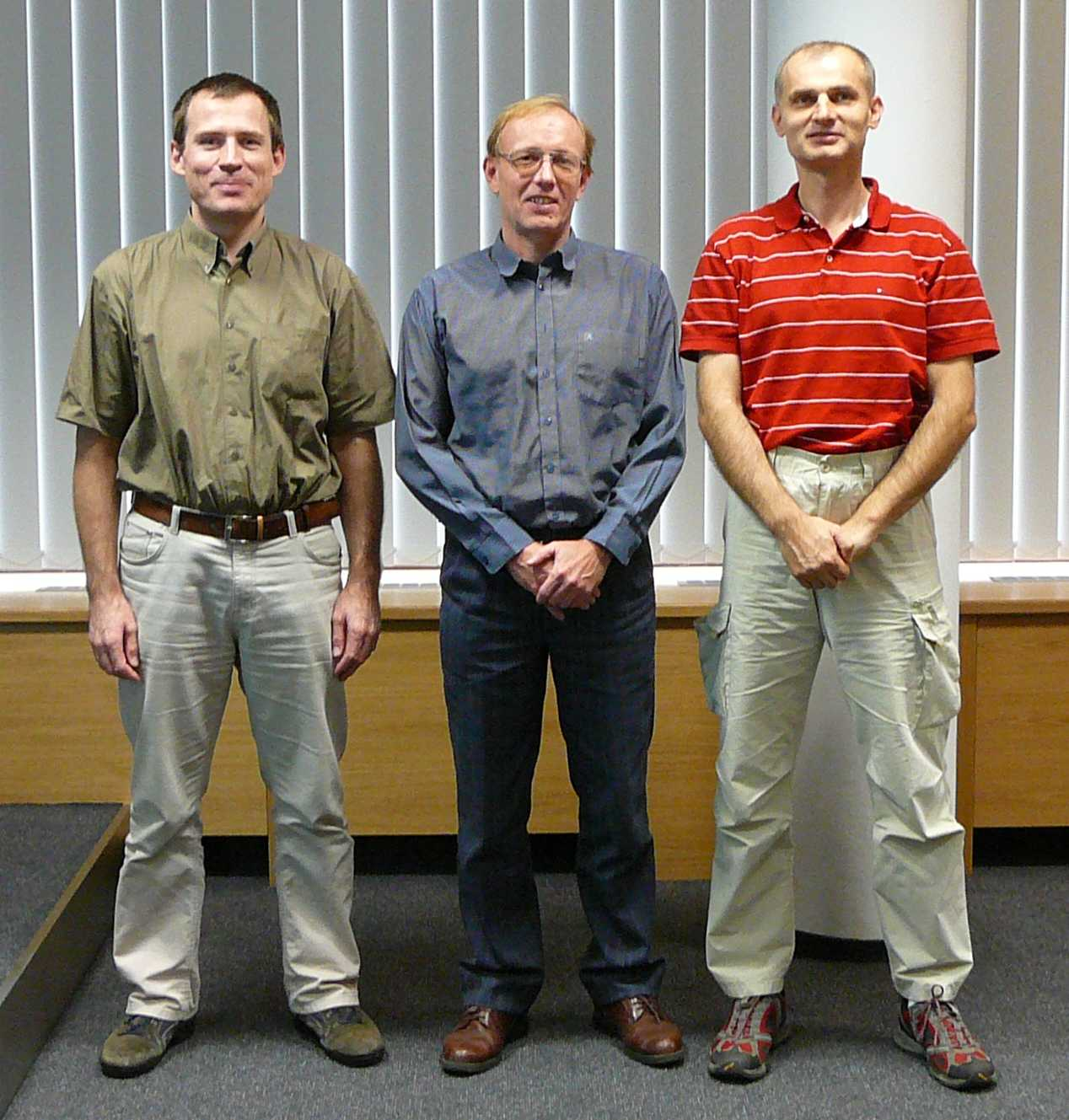 Picture of the leaders of Czech speech groups (from the left): Honza Cernocky (BUT), Jan Nouza (TUL), Ludek Muller (UWB)